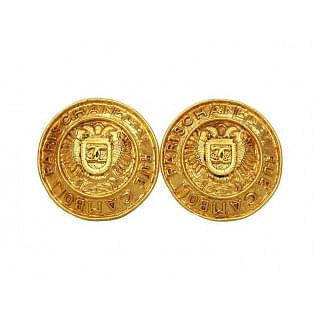 Chanel Vintage CC Logo Round Large Earrings