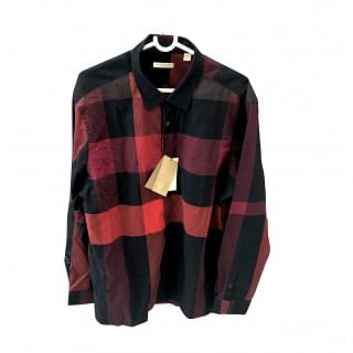 Burberry Brit Red and Black Cotton Check Shirt