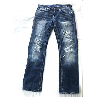 True Religion Straight Fit Torn Jeans