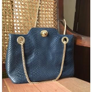 Hidesign Ladies Snake Blue Handbag