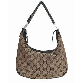 Gucci Beige GG Canvas Sherry Line Small Hobo Shoulder Bag
