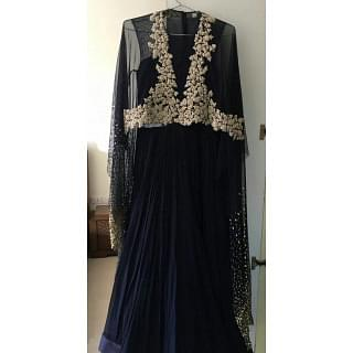 Ridhi Mehra Midnight Blue Cape Gown