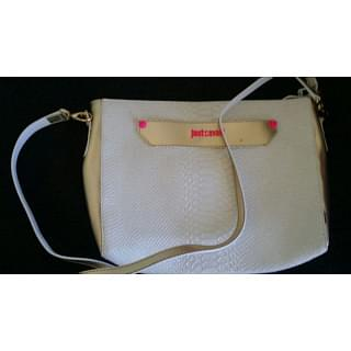 Just Cavalli Leather Snake White and Gold Crossbody