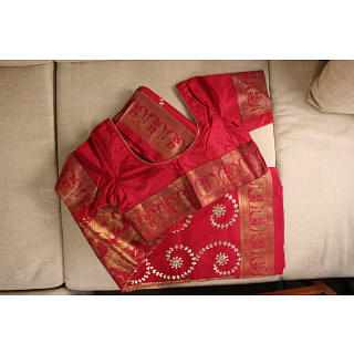 Red and Gold Traditional Saree