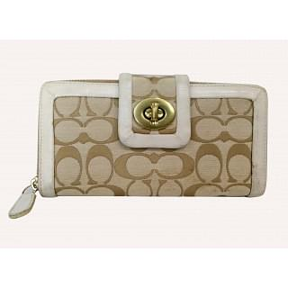 Coach Signature Turn Lock Zip Wallet