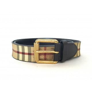 Burberry Women's Haymarket Dark Grey Check Belt