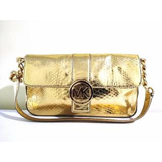 Michael Kors Golden Glossy Patent Leather Snake Print Fullton Shoulder Bag