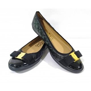 Salvatore Ferragamo Black Quilted Bow Patent Leather Ballet Shoes