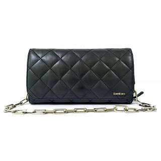 Bebe Black Quilted Leather Clutch