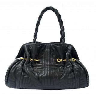 Bvlgari Black Twistino Tina Shopper Tote