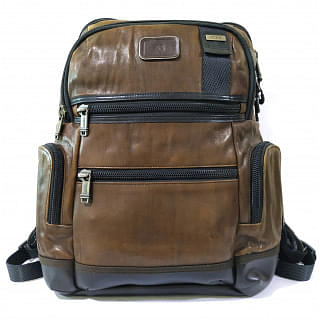 Tumi Alpha Bravo Knox Brown Leather Backpack
