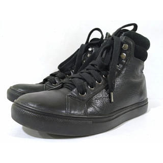 DKNY Black Leather High-Top Unisex Sneakers