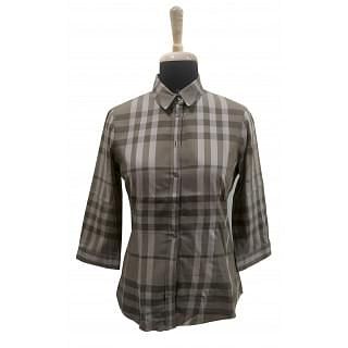 Burberry Black and Grey Checked Shirts