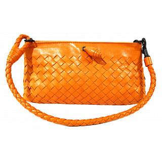 Bottega Veneta Intrecciato Orange Pochette