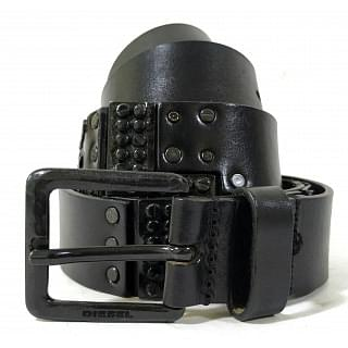 Diesel Studded Black Leather Belt