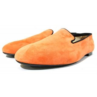 Tods Suede Smoking Orange Slippers