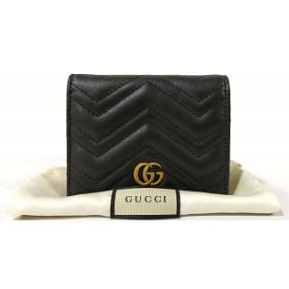 Gucci Black Quilted Leather GG Marmont Card Case