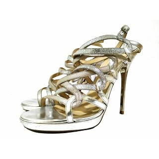 Jimmy Choo Dart Glittered Metallic Leather Sandals