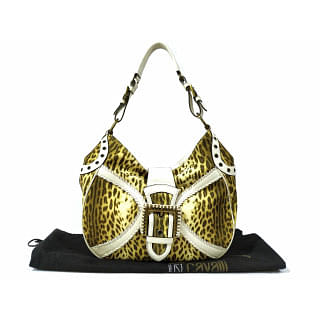 Just Cavalli Animal Printed Leather Hobo Bag