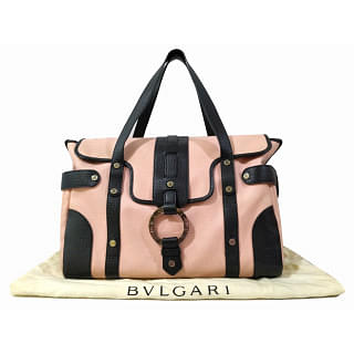 Bvlgari Pink and Black Canvas Leather Tote