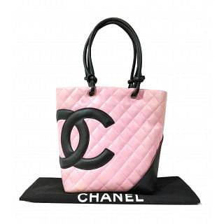 Chanel Pink/Black Quilted Leather Ligne Cambon Bucket Tote