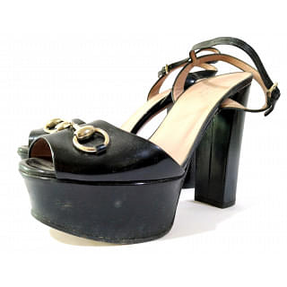 Gucci Black Horsebit Claudia Platform Sandals