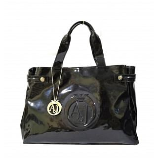 Armani Jeans Patent East West Logo Bag