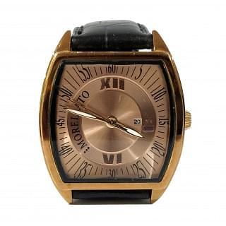 Morellato Class Rose Gold Dial Black Leather Strap Watch