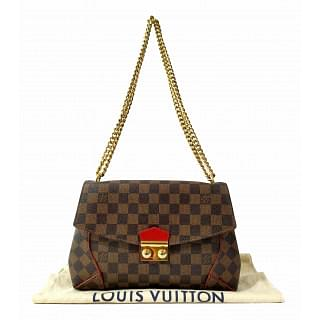 Louis Vuitton Caissa Damier Ebene Brown Cerise Cherry Clutch
