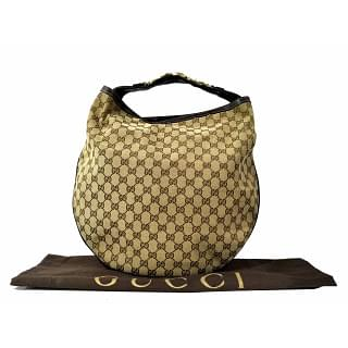 Gucci GG Canvas Wave Horse bit Large Hobo Bag