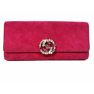 Gucci Magenta GG Crystal Embellished Broadway Clutch