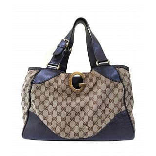 Gucci GG Beige Canvas & Leather Tote