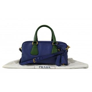 Prada Lux 2 Way Saffiano Blue Green Shoulder Bag