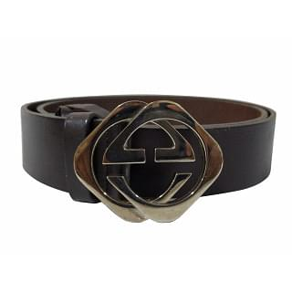 Gucci Silver Diamond GG Black Leather Belt