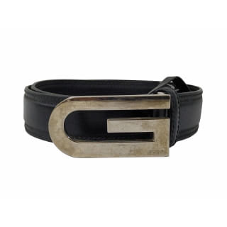 Gucci Unisex Black Leather G Buckle Belt