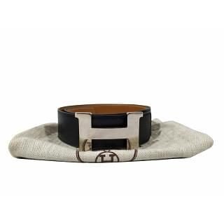 Hermes H Buckle Black and Tan Belt