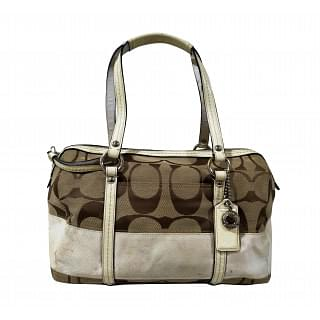 Coach Signature Stripe Zip Satchel