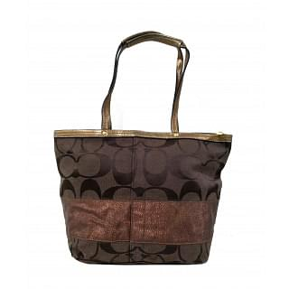 Coach F13548 Signature Stripe Jacquard Leather Tote