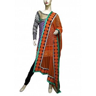 Sabyasachi Multicolor kurta-churidar set with orange dupatta