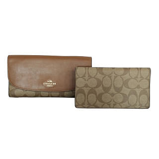 Coach F57319 Signature PVC Checkbook trifold Wallet