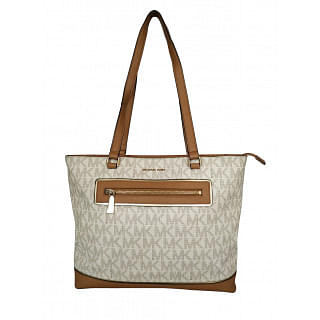 Michael Kors Vanilla Signature Specchio Frame Out Large NS Tote