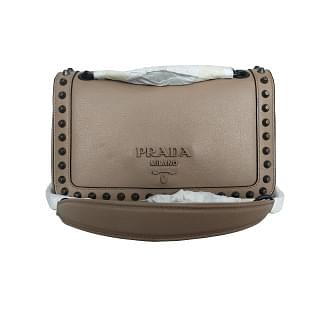 Prada Pattina Glace Calf Cammeo Leather Studded Bag