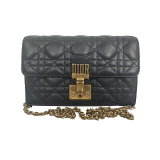 Dior Black Cannage Quilted DiorAddict Small Flap Bag