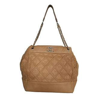 Chanel Beige Quilted Stitched Drawstring Shoulder Bag