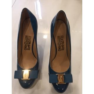 Salvatore Ferragamo Teal Blue Pimpa Patent Leather Pumps