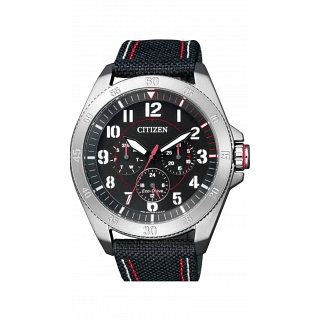 Citizen BU2030-17E Eco-Drive Mens Watch White Canvas Black-Red Dial