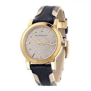 Burberry Haymarket Check With Black Leather Watch