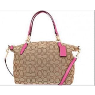 Coach Canvas Shoulder Bag with Pink Leather Trim