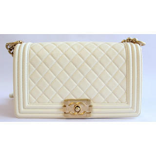 Chanel Boy Limited Edition Pearlised Cream with Gold Hardware   Luxepolis