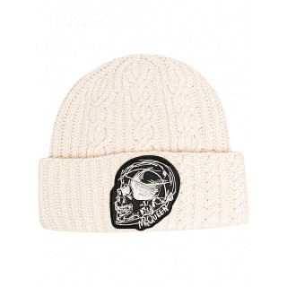 ALEXANDER MCQUEEN WOOL-CASHMERE BLEND CABLE-KNIT BEANIE - INTTSB842993603